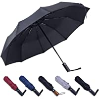 PFFY Compact Travel Umbrella Windproof Collapsible 10 Ribs Auto Open & Close Folding Small Umbrella