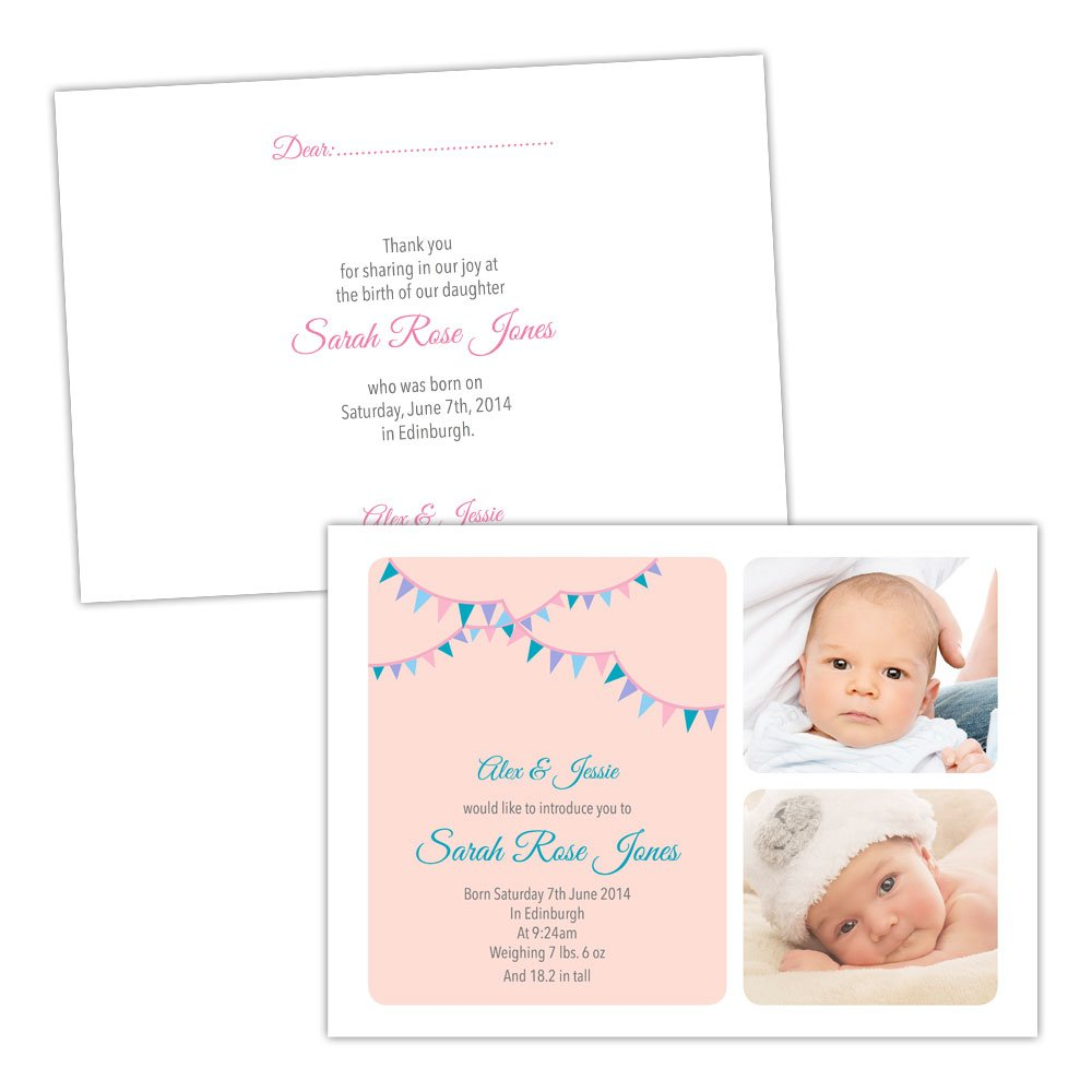 A5 doublesided Pearl or Textured card Made by Mika Personalised baby announcements PINK TEAL BUNTING GIRL FREE DRAFT & FREE ENVELOPES (50, A5 doublesided Pearl or Textured card)