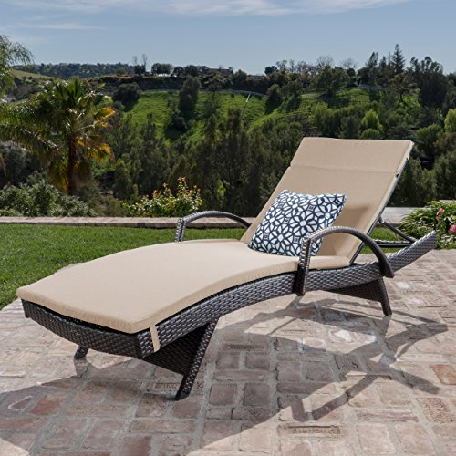 Christopher Knight Home 296787 Salem Outdoor Chaise Lounge, Brown with Beige
