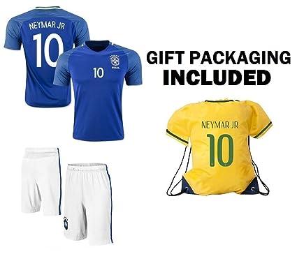 9a8ce5576d5 Neymar Jersey  10 Brazil Youth Home Soccer Jersey   Shorts + Bonus Neymar  Bag (