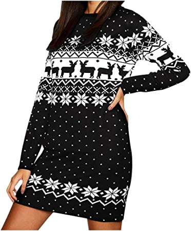 YSpoe Vestido de Navidad para Mujer, Manga Larga, diseño de ...