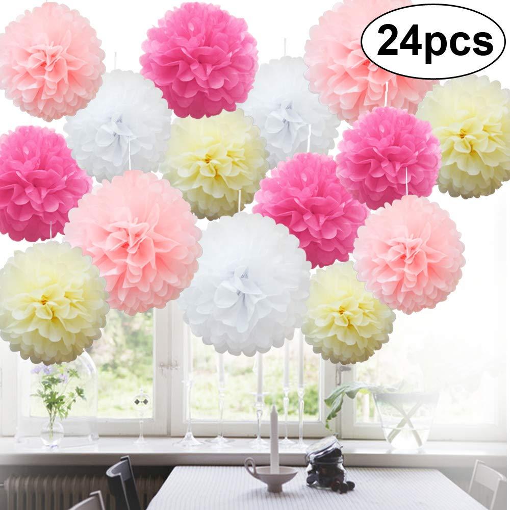 5 x papier tissu pompons Pompons Fleur Boules Moelleux mariage fête décoration