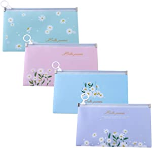 Zipper Face Cover Organizer Storage Bag Zipper Envelope Letter Size Face Covers Container Portable Organizer for School and Office Supplies Set of 4 in 4 Assorted Colors 8.7 x 5 inches (Daisy)