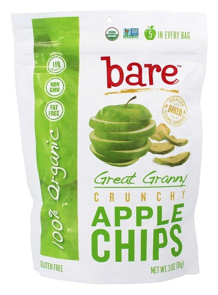 Bare Fruit - 100% Organic Crunchy Apple Chips Great Granny - 3 oz.(pack of 2)