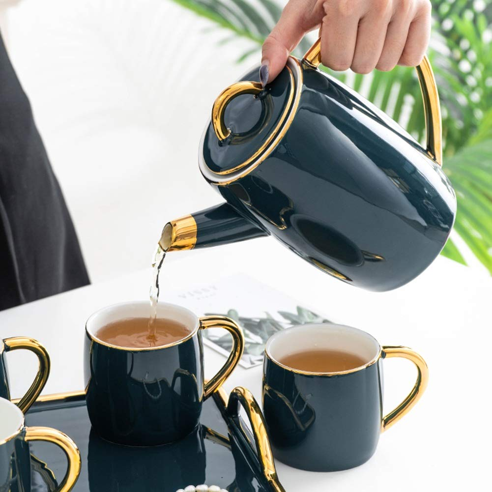 Coffee Pot Tea Pot Coffee Kettle Espresso Coffee Maker Coffee Machine French Coffee Press Ceramics Sets Water Bottle Large Capacity GAOFENG (Color : Pot+6 Cups) by GAOFENG-coffee pot (Image #4)