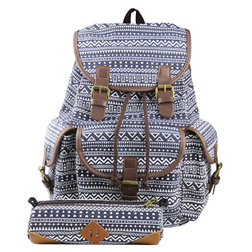 L.S.Risunup Casual Backpack for Teenage Girls College Cute Travel Drawstring Canvas School Bags Pencil Case 2PCS Set Pattern Style