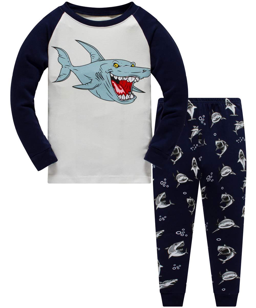 Boys Pyjamas Set Dinosaur Glow in The Dark Toddler Clothes Kids Pjs 100/% Cotton Nightwear Long Sleeve Sleepwear 2 Piece Outfit 1 to 10 Years