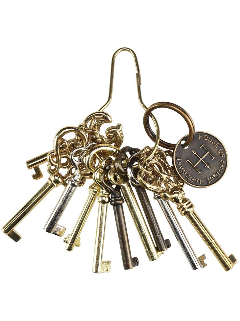 House of Antique Hardware R-08HH-BK-10 Ring of 10 Unique Decorative Antique Style Barrel Keys