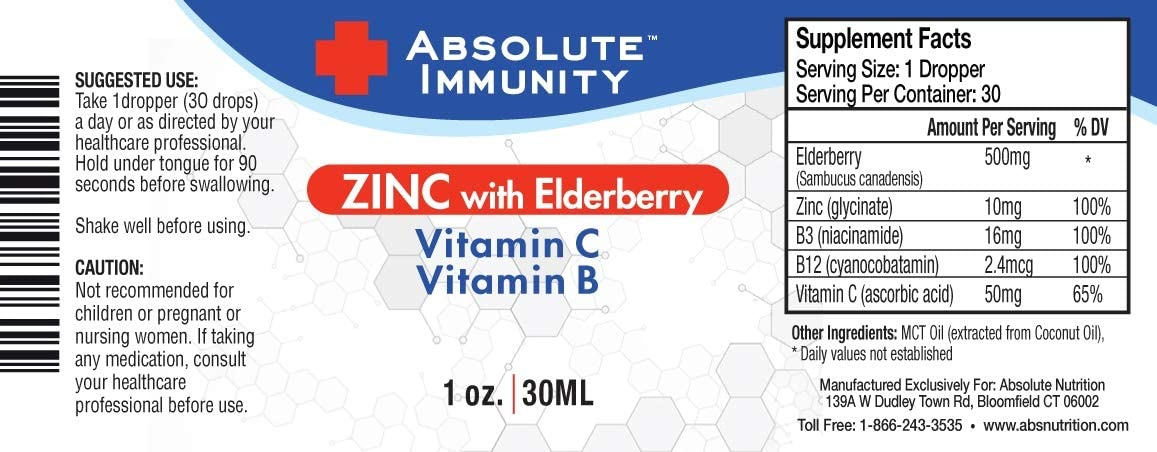 Absolute Immunity-ZINC Liquid Concentrate with Elderberry Syrup, Vitamin C, Vitamin B Supports Your Body's Natural Defenses 1oz