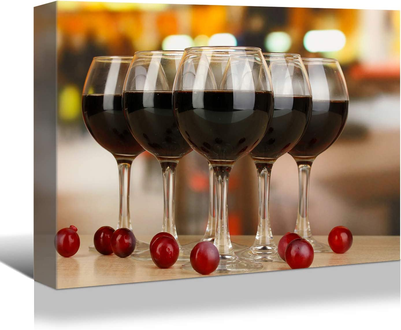 Looife Kitchen Wine Canvas Wall Art, 24x16 Inch Gallery Wrapped Wine Glass with Grapes Picture Prints Wall Decor, Food Art Deco for Dining Room and Bar Wall Decoration