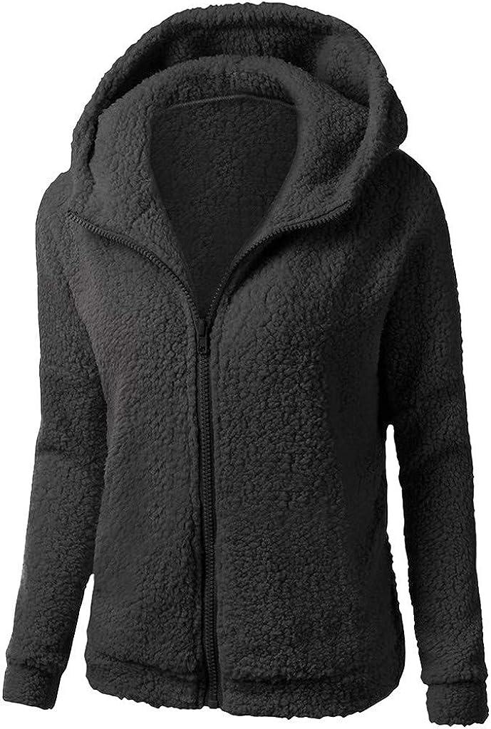 Casual Warm Coat Chaofanjiancai Womens Long Sleeve Outerwear Solid Hooded Wool Zipper Overcoat