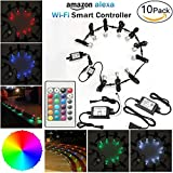 """LED Step Lighting Kits, FVTLED 10pcs Φ1.18"""" WiFi Wireless Smart Phone Control Low Voltage LED Deck Light Waterproof Outdoor Decor Recessed RGB Lamps Compatible with Alexa Google Home"""