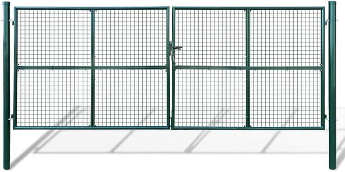 vidaXL Acero Verja Mallada Puerta Barrera Exterior Cercas para Jardín, 415 x 200 cm: Amazon.es: Jardín