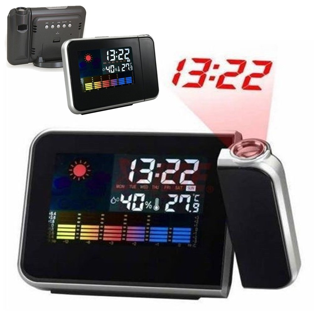 Digital Projection Alarm Clock with LED Display Indoor Temperature Weather Station 12-Hour Display Silent/No Ticking Projection Snooze Alarm Clock for Home (Black) MOOUK