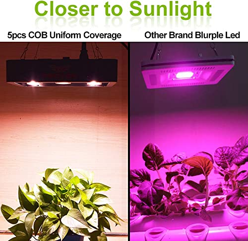 FSGTEK 1500w Full Spectrum COB LED Grow Light for Indoor Plants, Veg and Flower, with UV IR Bulbs Led Plant Light, Hanging Hook Kits Black