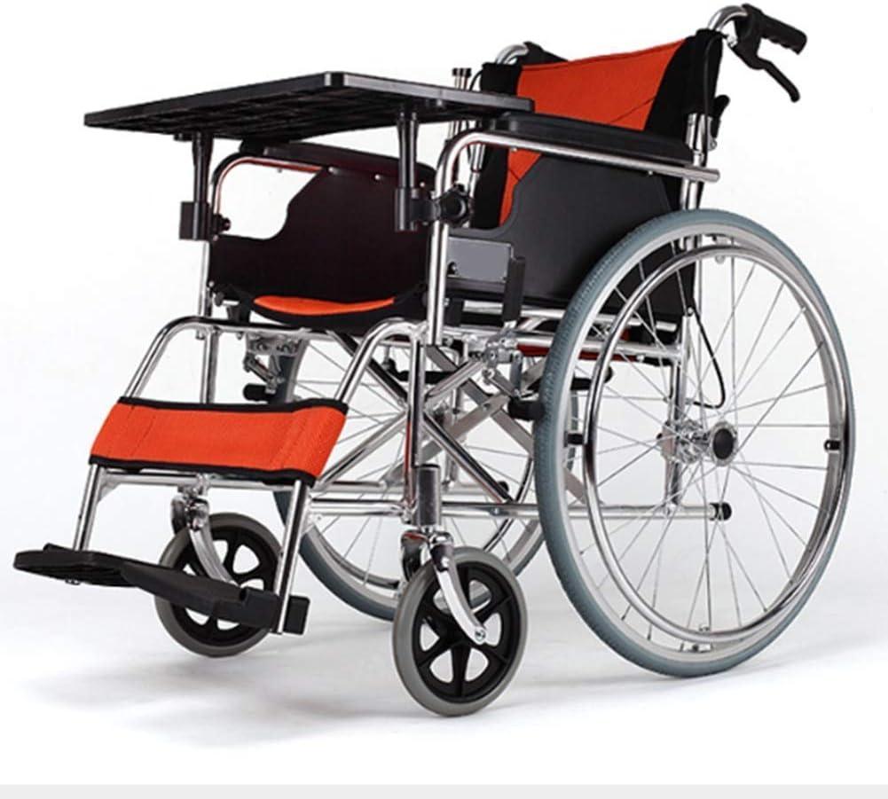 Aleación de aluminio multifuncional Ligera silla de ruedas manual plegable, adecuada para personas mayores y discapacitadas para llevar una silla de ruedas plegable ultraligera cojín transpirable