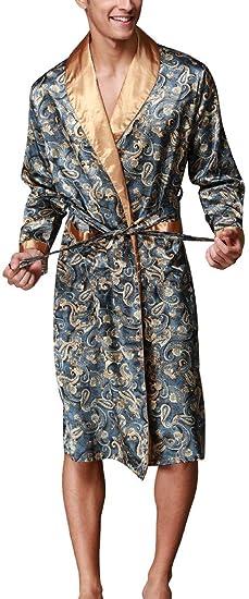 Edith Qi Homme Kimono En Soie Robe De Chambre Peignoir De Bain Vêtement De Nuit Satin Pyjama L Xxl Multicolore Styles De Mode