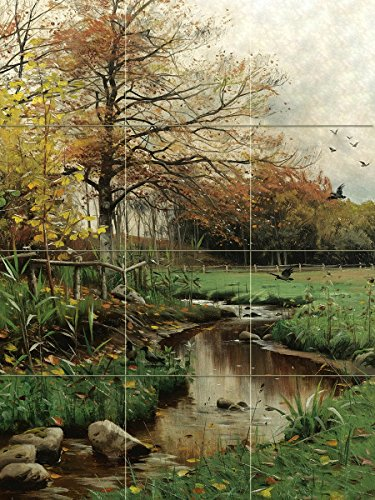 AUTUMN LEAVES by Peder Monsted trees birds stream Tile Mural Kitchen Bathroom Wall Backsplash Behind Stove Range Sink Splashback 3x4 6'' Rialto by FlekmanArt