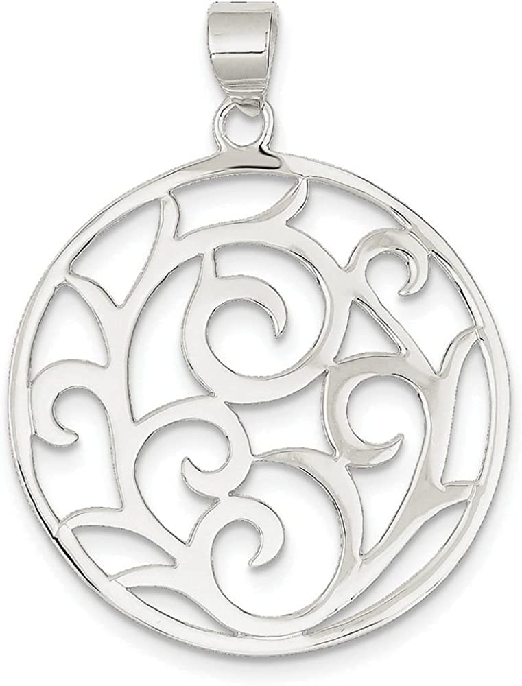 Finejewelers Sterling Silver Fancy Round Pendant Necklace Chain Included