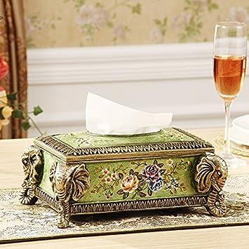 XOYOYO European-Style Caja de pañuelos de papel para la decoración del hogar Pastoral Americana Post Moderno Especieros Forte familia de 4 plato de frutas ...