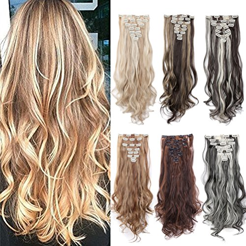 "8PCS 24-26 inches Highlight Straight Wavy Curly Full Head Clip In Hair Extensions 18Clips Women Lady Hairpiece (24""-Curly, Dark Brown & Coffee Brown)"