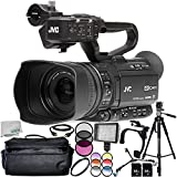JVC GY-HM250 UHD 4K Streaming Camcorder 13PC Accessory Bundle – Includes 2 x 64GB SD Memory Cards + 3 Piece Filter Kit (UV + CPL + FLD) + MORE