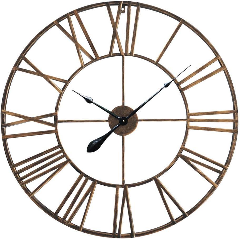 Antic By Casa Chic Large Metal Wall Clock 76 Cm Diameter Quartz Mechanism Roman Numerals Iron Copper Amazon Co Uk Kitchen Home