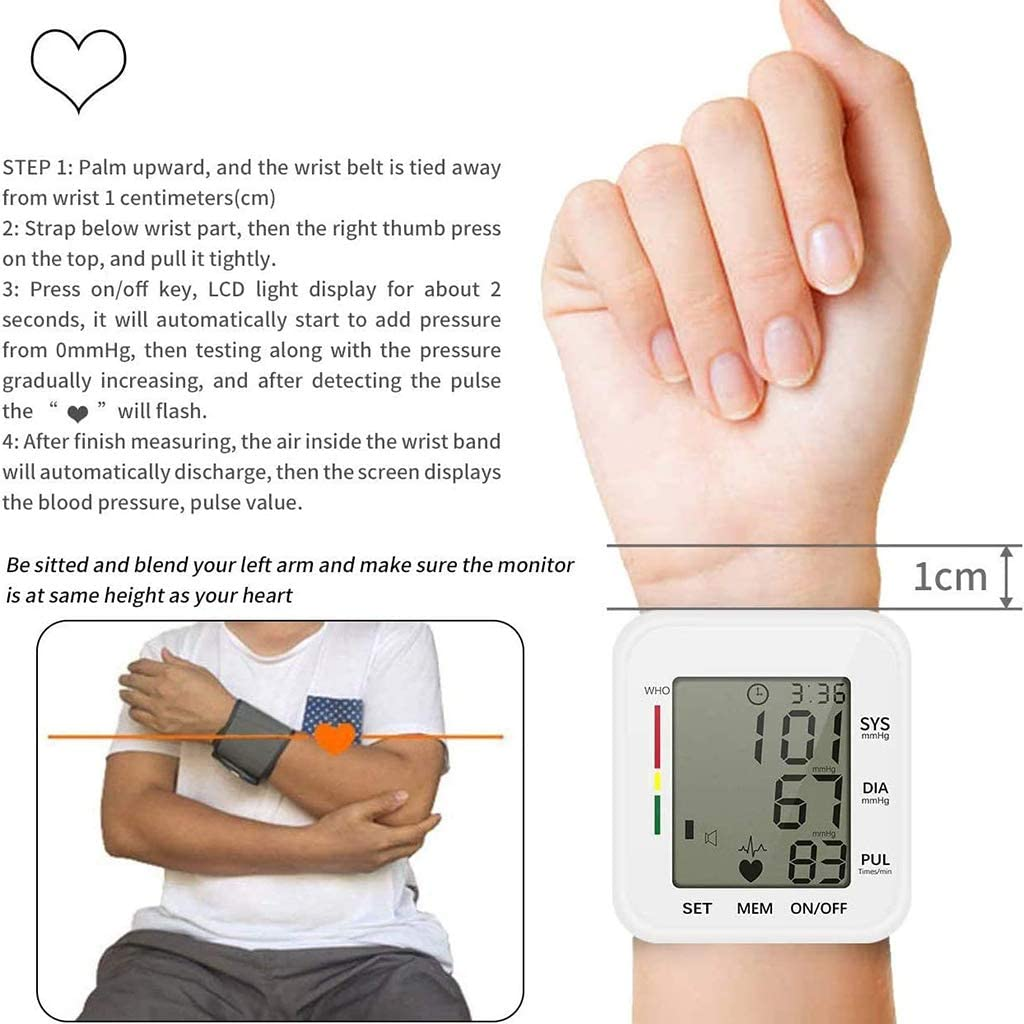 for Home Use 2 User Mode with 198 Memory Capacity ASDF Wrist Blood ...
