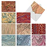 M6456OCB Marbled Marvels: 10 Assorted Blank All-Occasion Note Cards Featuring Abstract Ripples and Splotches of Colorful Paint, w/White Envelopes.