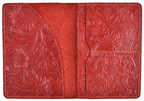 Yeeasy Passport Holder Wallet Cover Passport Case Genuine Crazy Horse Leather (Red Horses Leather)