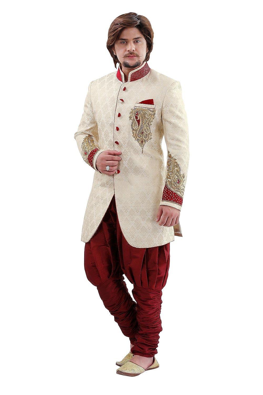 f7568598823 Amazon.com  Cream Brocade Silk Indian Wedding Indo-Western Sherwani For  Men  Clothing