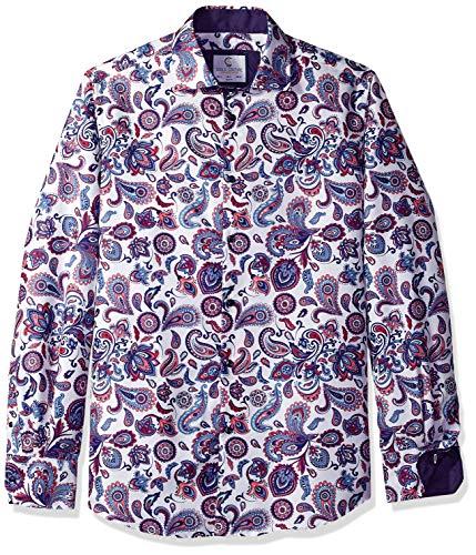 Azaro Uomo Men's Long Sleeve Dress Shirt Casual Button Down Slim Fit, Purple-Paisley, XL