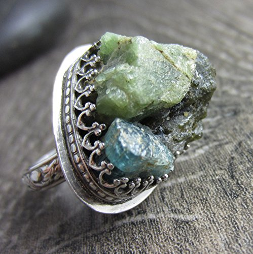 The Green Ring - Green Tourmaline and Blue Aquamarine Raw Chunks in Sterling Silver