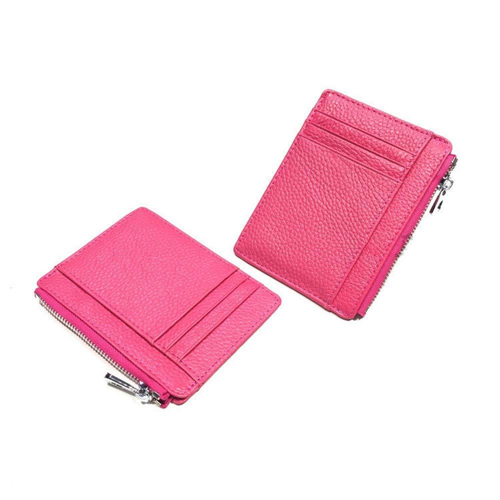 AnnabelZ Women Slim Genuine Leather Credit Card Holder Card Case Front Pocket Wallet with Keychain Zip