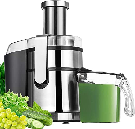 Juicer Juice Extractor Aicok 800W Juicer Machine 75MM Wide Mouth Stainless Steel Centrifugal Juicer 2 Speed Setting Fruit Juicer for Whole Fruit and Vegetable,BPA-Free,Non-Slip Feet