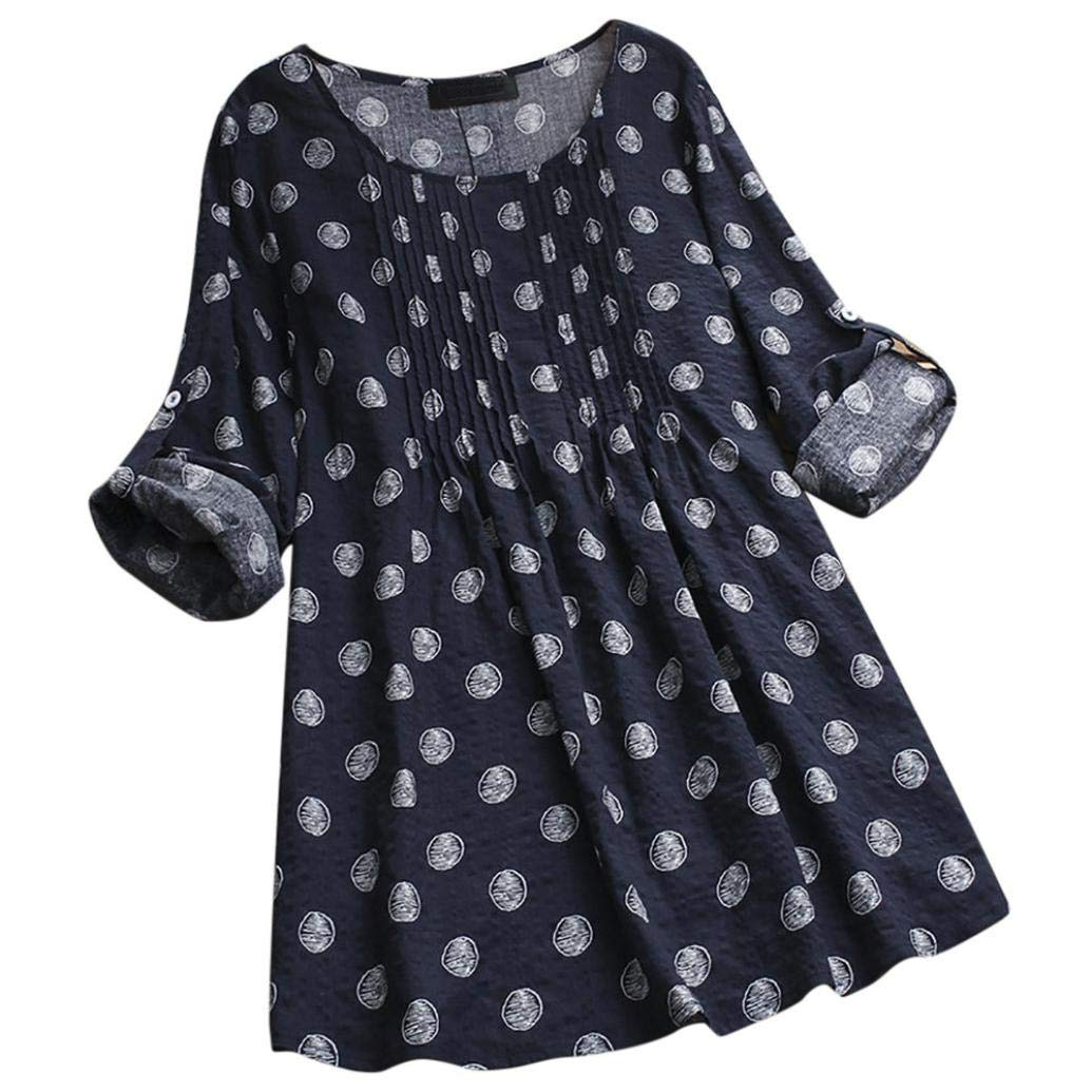 Happy-Day Women Autumn Blouse T-Shirts & Tops Blouse & Shirts Loose Long Sleeve Polka Dot Pullover Button Tops Shirt