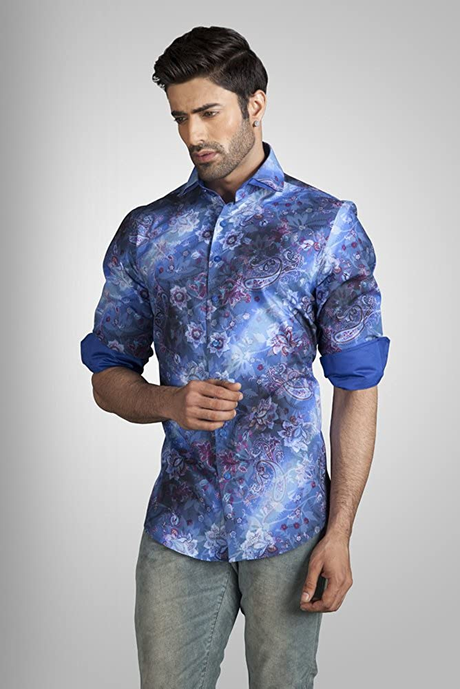 44624103 UD Men's Printed Mens New Style Slim Fit Formal Shirt Blue at Amazon Men's  Clothing store: