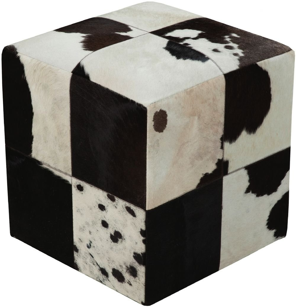 Surya Animal Inspirations Square pouf/ottoman 18''x18''x18'' in Black, White Color From Surya Poufs Collection