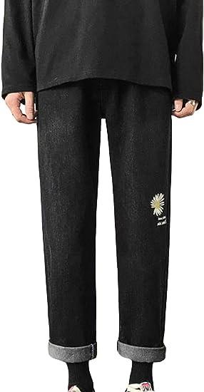 (BaLuoTe)メンズ デニムパンツ 春 9分丈 ワイドパンツ メンズ ワイド ファスナー ストレートデニム 通勤 通学 メンズ ロングパンツ ファッション かっこいい カジュアル ストリート