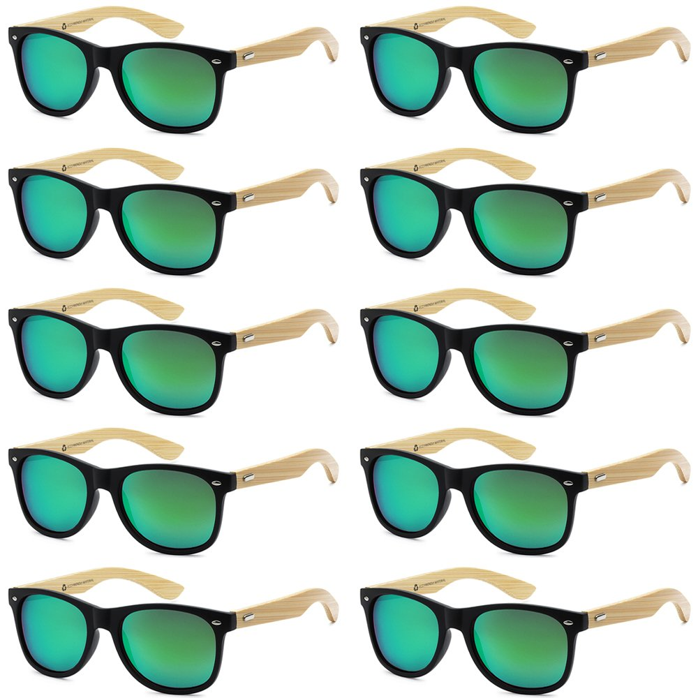 9bbf3266a0 Top10  Wholesale Bamboo Sunglasses Eco Friendly Modern Retro 80 s Classic -  10 Pack