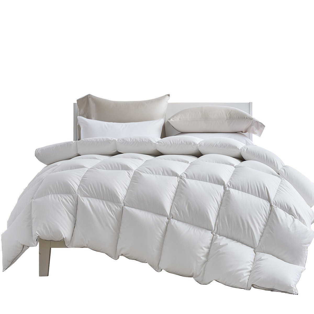 Coozii Down Comforter,All Season Goose Down Comforter,Queen Duvet Insert 1200 Thread Count 750+ Fill Power 100% Egyptian Cotton,White(90x90Inch)