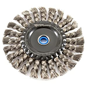 Forney 72840 Wire Wheel Brush, Industrial Pro Twist Knot with 1/2-Inch thru 5/8-Inch Multi Arbor, 6-Inch-by-.020-Inch