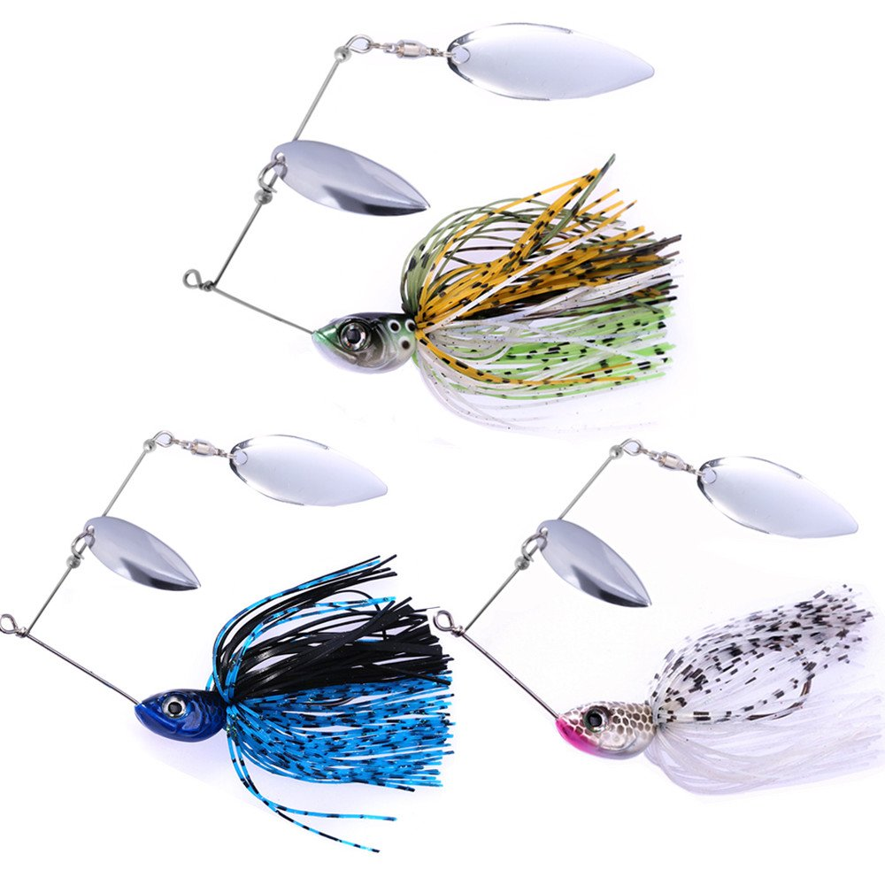 SUNMILE Fishing Buzzbait Spinnerbait Lures Double Willow Blade Spinner Baits for Bass Pike Metal Fishing Lure Pack of 3pcs (Mixcolor spinnerbait 1/2oz) by SUNMILE