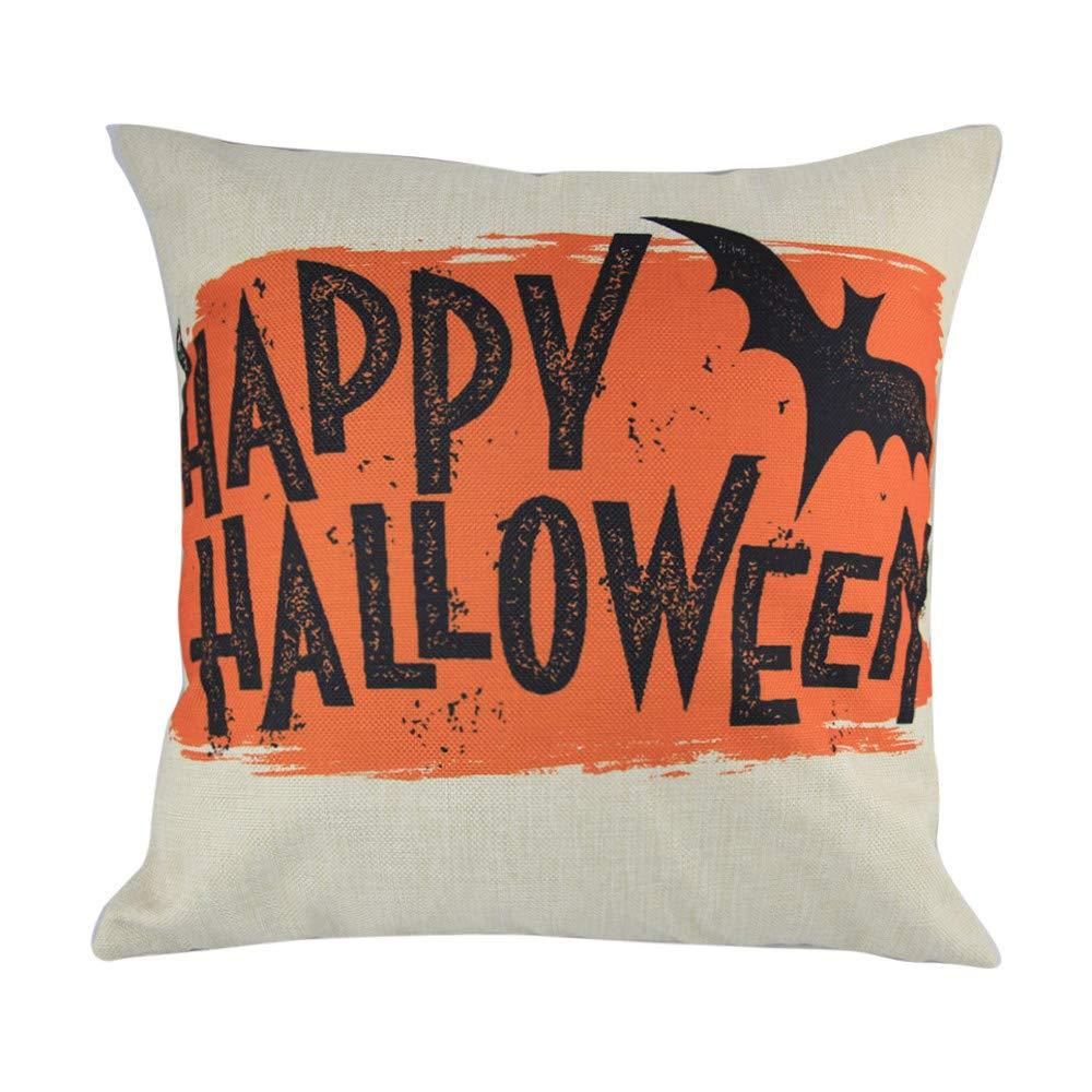 Hongxin 'Happy Halloween' Letter Pillow Cases,1PC 45cm×45cm Cotton Linen Bat Ghosts Cushion Cover Home Decor (D, 45cm×45cm)