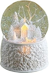 """Roman 6"""" LED Porcelain Church with Sleigh Dome Battery Operated Without Batteries 100M Plays First Noel"""