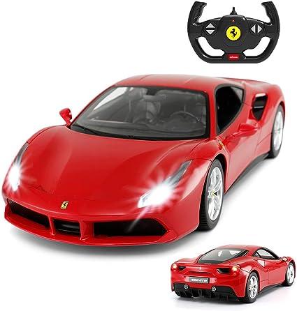 Amazon Com Ferrari 488 Gtb Model Rastar 1 14 Scale Ferrari Remote Control Car For Boys 8 12 Red Toys Games