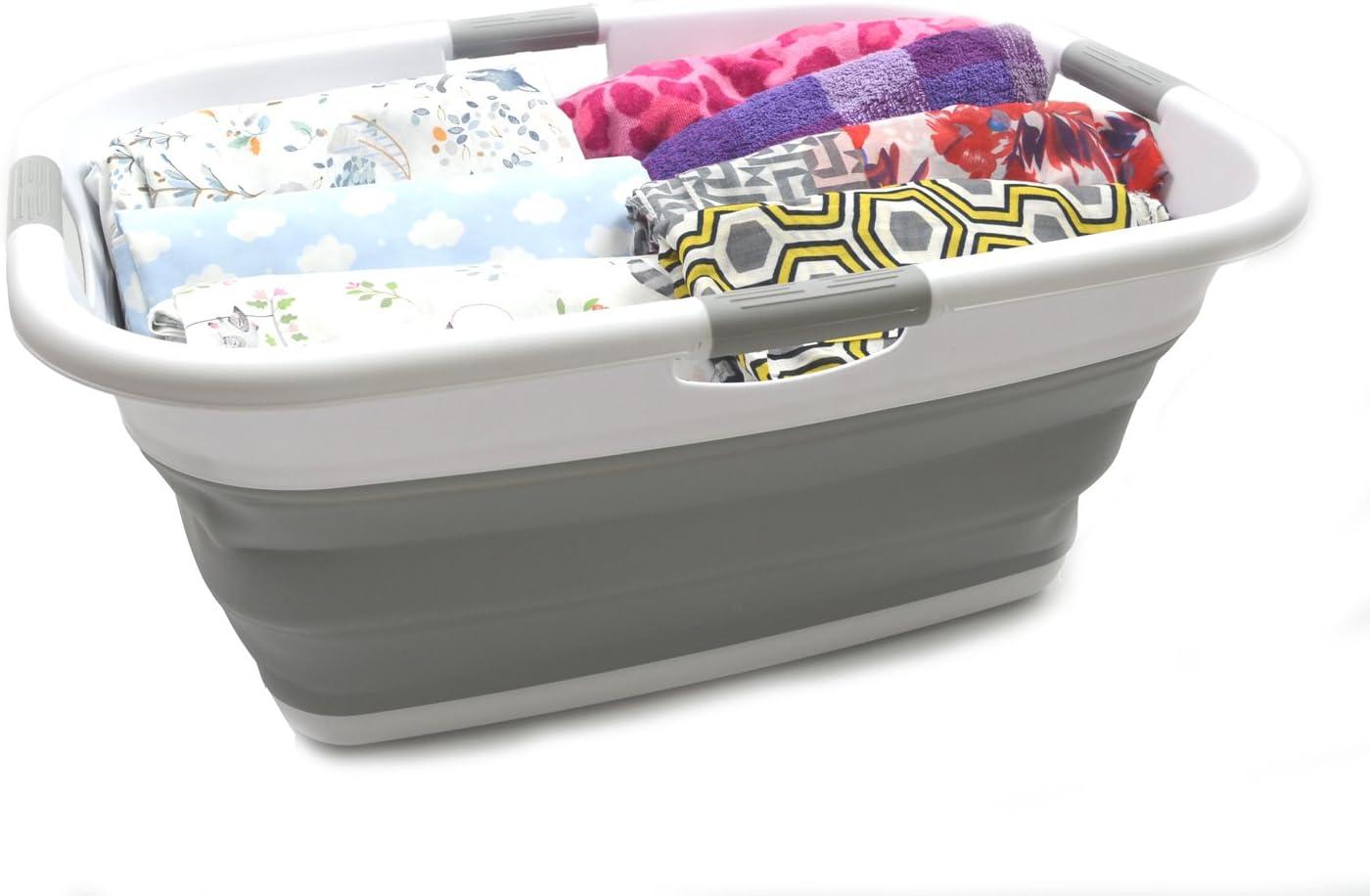 contenitore pieghevole pop-up vasca portatile Cesto portabiancheria pieghevole in plastica 1, bianco//blu marino SAMMART cesto salvaspazio