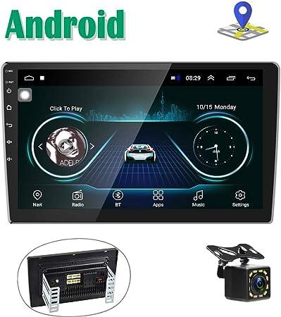 Android Radio Coche 2 DIN GPS Navi Autoradio estéreo Camecho 10 Pantalla táctil Bluetooth FM Receptor Teléfono móvil Enlace de Espejo con Doble USB + Cámara Trasera: Amazon.es: Electrónica