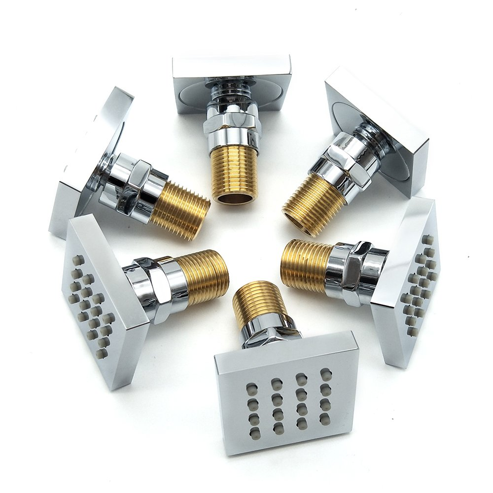 Homedec/®Shower Spa Brass Square Massage Jets Spray Body Shower Set Chrome Finish Pack of 6 J-003