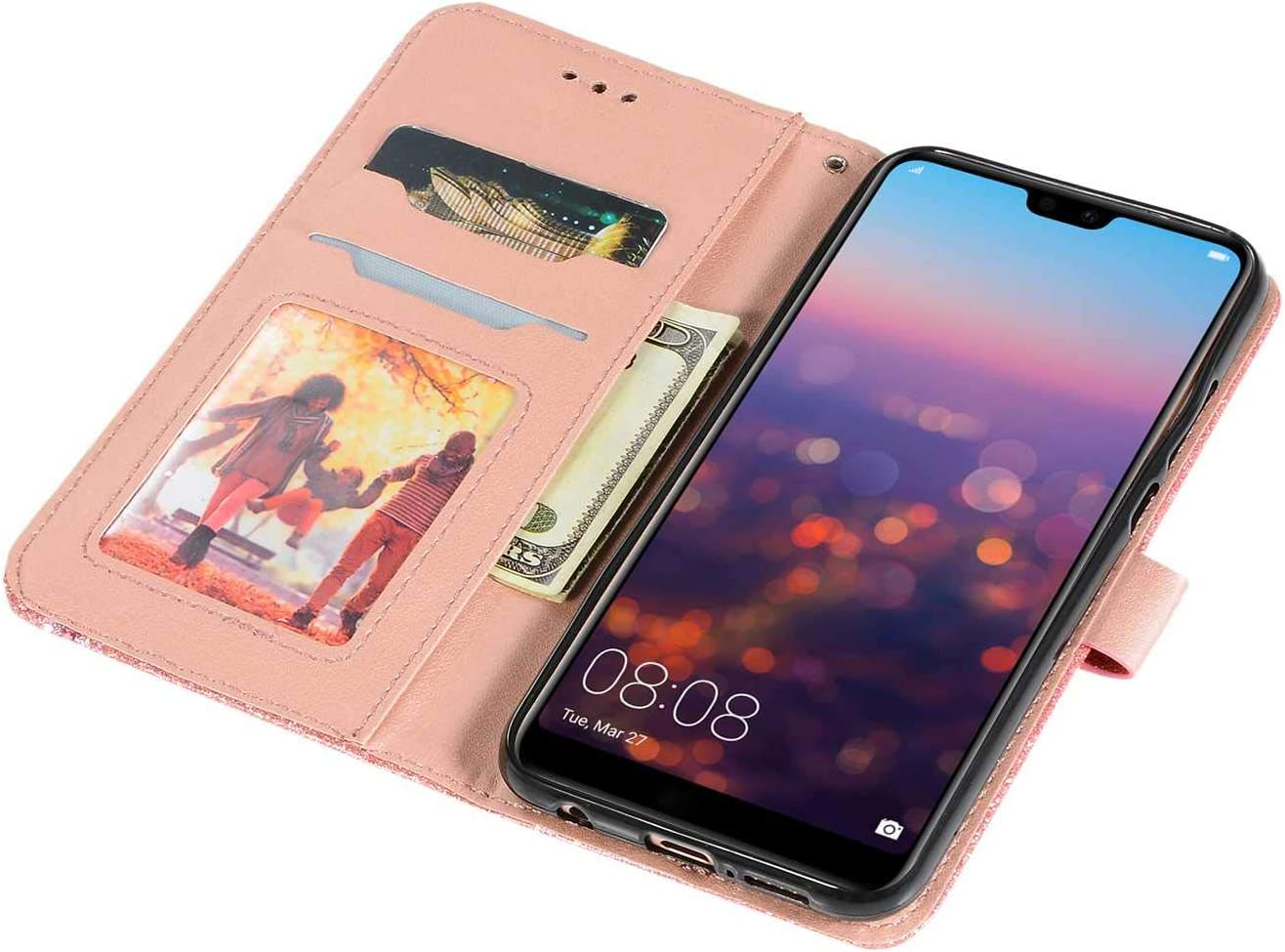 Gold DENDICO Huawei P20 Lite Case Glitter Shiny Wallet Case for ...